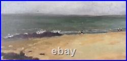 Tableau huile sur toile Scène de plage signée