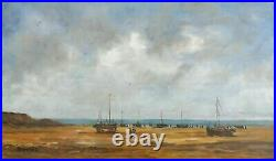 Tableau huile sur toile bateaux à l'échouage signée DUMONTIER