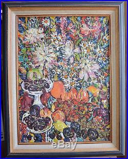 Tableau, huile sur toile, école russe, nature morte de. XXème