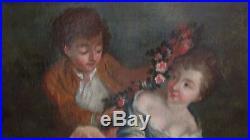 Tableau huile sur toile francaise XVIIIe scene galante french school peinture
