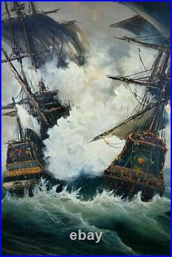Tableau huile sur toile marine scène de bataille Navires canons signé XXème