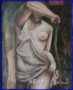 Tableau huile sur toile -nu cubiste signé