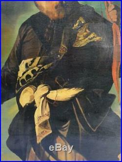 Tableau huile sur toile orientaliste portrait d'un chasseur signé