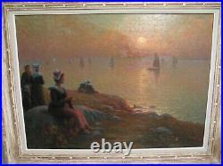 Tableau huile sur toile signé Alfred Marzin l'attente des pêcheurs en Bretagne