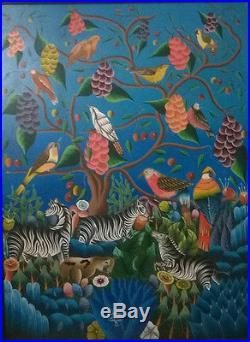 Tableau huile sur toile signé Etienne Charnelus Peintre Haïti Le jardin d'Eden