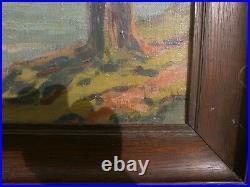 Tableau huile sur toile vue du lac d' annecy signé achille bron