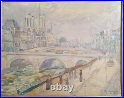 Tableau huile /toile Paris, la Seine et Notre Dame signé illisible