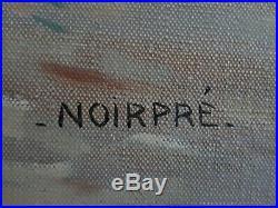 Tableau huile / toile marine animée voiliers crépuscule NOIRPRE 1ère moitié XX°