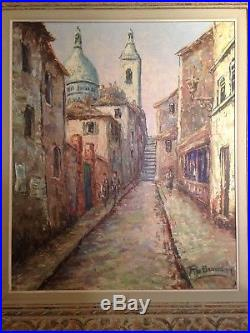 Tableau impressionniste C1930 Rue animée à Montmartre Signé Cadre Montparnasse