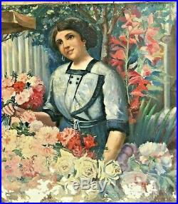 Tableau le marché aux fleurs et des élégantes, vers 1920/30