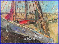 Tableau marine HST. Trois-mâts au port, BRETAGNE de R LOROTTE Mi XX° + cadre