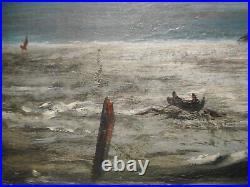 Tableau marine ancien peinture bord mer océan bateau chateau Bretagne breton
