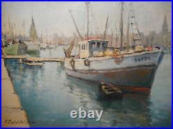 Tableau marine peinture port La Rochelle Charente-Maritime bateau mer océan 2
