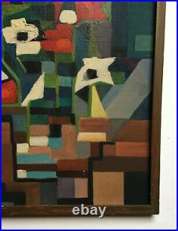 Tableau moderne signé, Bouquet de fleurs, Encadré, Huile sur toile, XXe
