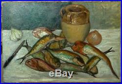 Tableau nature morte poissons, école provençale Seyssaud, Ambrogiani
