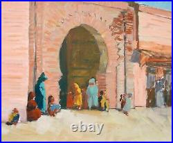 Tableau orientaliste paysage MAROC Marrakech remparts orientalisme huile toile