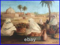 Tableau orientaliste, scène de marché, huile sur toile signée Louise Bailly