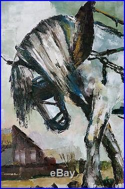 Tableau original Joëlle Pulcini Cheval de Labour Peinture au couteau