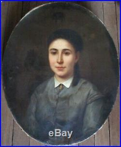 Tableau ovale Peinture huile PORTRAIT Jeune Femme XVIIIe XIXe beau châssis