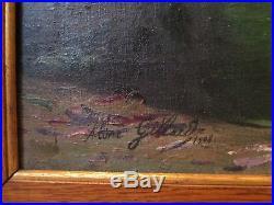 Tableau peinture Aline GILLARD bouquet fleurs huile / toile 1900 Peintre Lorrain