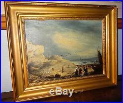 Tableau peinture BRETAGNE retour de pêche marine daté 1860 Jules Noël