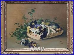 Tableau peinture Huile Nature morte Fleurs de pensées début XIXe cadre Empire