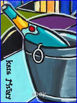 Tableau peinture Kris Milvy Art Déco Balcon à Paris Tour Eiffel 54 x 73 cm
