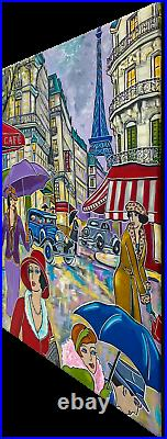 Tableau peinture Kris Milvy Art Déco Jour de pluie à Paris 54 x 73 cm