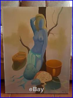 Tableau peinture à huile sur toile signée RAJ 78
