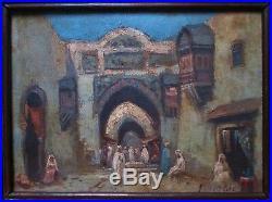 Tableau peinture huile Orientaliste ruelle souk Médina 1900 à identifier