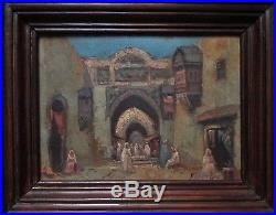 Tableau peinture huile Orientaliste ruelle souk Médina début XXe, à identifier
