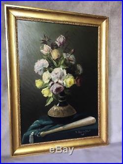 Tableau /peinture /huile Sur Toile Signée Tripon De Pibrail -bouquet De Fleurs