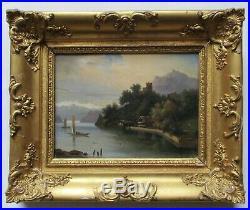 Tableau peinture paysage lac montagnes cadre doré Empire Restauration XIXe