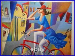 Tableau peinture peintre russe Mikolaj MATUSIEWICZ jeune femme bicyclette vélo
