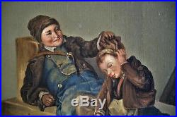 Tableau-peinture-petits Savoyards-ramoneurs-edmond Lafille-portrait-scene Genre
