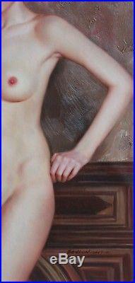 Tableau peinture signée huile sur toile femme nue intégrale