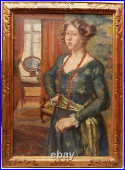 Tableau portrait jeune femme intérieur Pierre BONNARD huile toile école belge