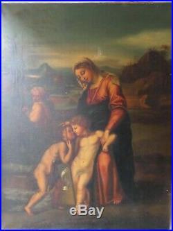 Tableau religieux peinture huile sur toile Vierge à l enfant XIXeme