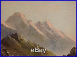 Tableau signé ASTRID WALFORD. Montagne La Meije Oisans. HsT 38x46 cadre 51x59 cm