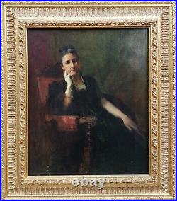 Tableau signé ETCHEVERRY portrait Bayonne femme élégante peinture français 19ème