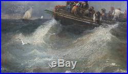 Tableau signé TANNEUR marine tempête barque peinture français Marseille mer
