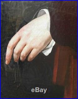 Tableau signé VIEILLEVOYE Portrait néo-classique belge Liège peinture 19e