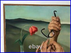 Tableau surréaliste signé Pierre, Huile sur toile, XXe