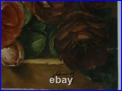 Tableaux ancien huile sur toile signé Bouquet de roses époque 19ème