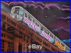 Toile Originale Sonic Bad + Ms Ruse Bad, NYC Subway Train Graffiti Urban Art