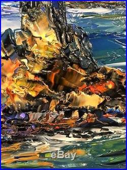 Toile Peinture Tableau Signe Pate Marine 46 X 38 Drouot Original Painting