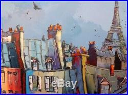 Toits de Paris Tour Eiffel Original Unique artisteJP DOUCHEZ Peinture au couteau