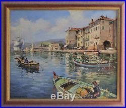 Tony Cardella Peintre Corse Marine Pecheurs Et Barques Dans Un Port