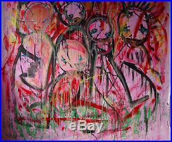 Tres Grande Peinture sur toile M MerrheiM Art Singulier Expressionnisme 2mx2m