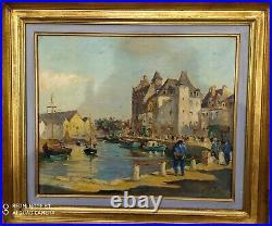 Tres beau tableau de edouard le saout (port breton)